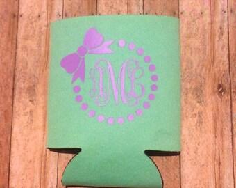 Monogram Can Cooler - cute can cooler - personalized can cooler - can cooler - girly can cooler - can holder - initials