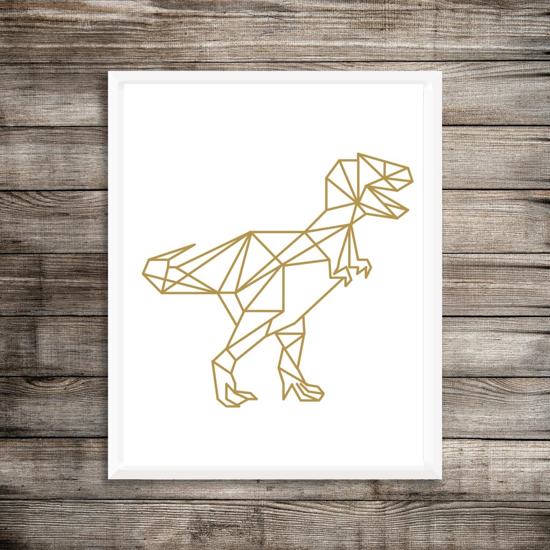 G om trique dinosaure art print or t rex g om trique decor for Decor traduction