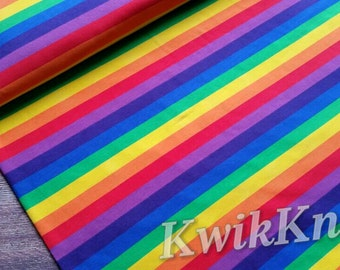 Bright - rainbow - stripes - cotton lycra - stretch - knit fabric - 95/5 - four way - stretch knit - fabric - rainbow fabric