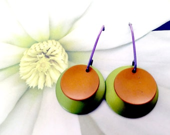 Earrings-1 Pair-Textured hand dyed anodized aluminum, nickel silver with niobium ear wire. -Free shipping to USA