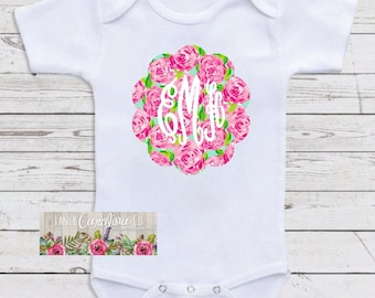 Baby Girl Monogram Floral Bodysuit- Baby Shower Gift - Baby Girl Bodysuit- Monogram Bodysuit- Baby Girl Monogram