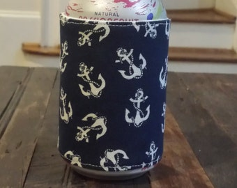 Anchor Print on Navy Nautical Can Cooler/Beer Hugger - Homemade