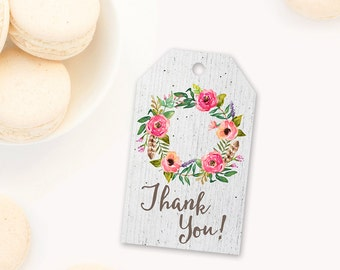 Party Favor Thank you Tags, Floral Birthday Favor Tags, Rustic Party Thank you Tags, Baby Shower Party Favor Tags, shabby chic party favors