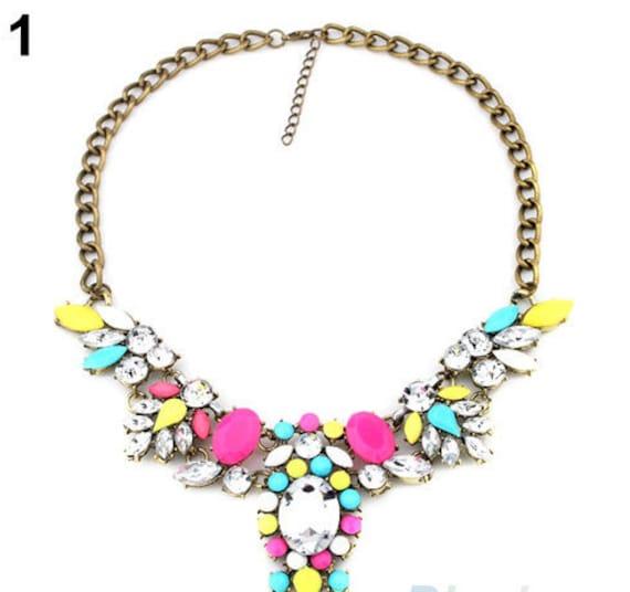 multi colored bib statement necklace
