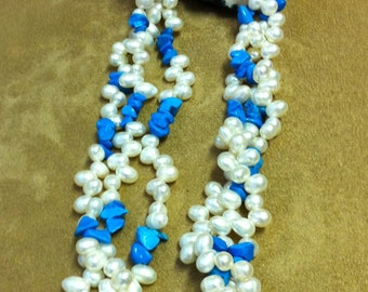 Fresh water pearls and turquoise neckace