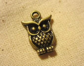 2 sides tiny owl charm x10