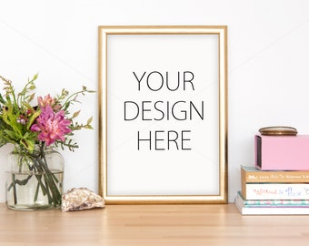 Styled gold frame mockup smart object art mockup your art mockup picture mockup poster mockup interior mockup stock photo