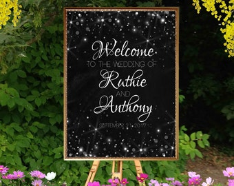Printable Welcome wedding sign, chalkboard and bokeh lights. Silver glitter, Personalized wedding sign. Digital reception entrance sign