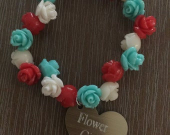 Flower Girl/Junior Bridesmaid personalised etched flower charm bracelet with name