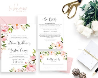 Printable Wedding Invitation Suite / Wedding Invite Set - The In Bloom Suite
