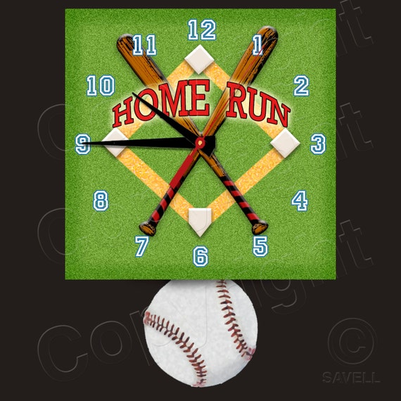 Baseball Clock with Baseball Pendulum • Home Run • Baseball Team