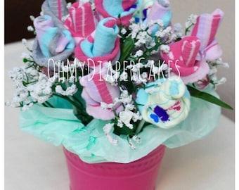 Baby Sock Bouquet in Bucket, Baby Sock Roses Bouquet, Dozen Roses Sock Bouquet, Baby Shower Centerpiece, Baby Shower Flower Centerpiece