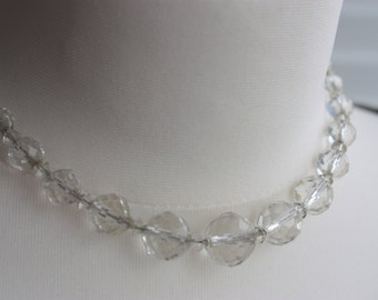 Art Deco Glass Necklace - Clear Glass Bead Necklace - Short Deco Necklace - Faceted Bead Necklace - Graduated Bead Necklace