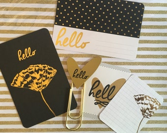 5 Piece Hello Gold Planner Clip,and Planner Decor Set, Ships today, Hello Quote, Hello Quote Planner Die Cuts