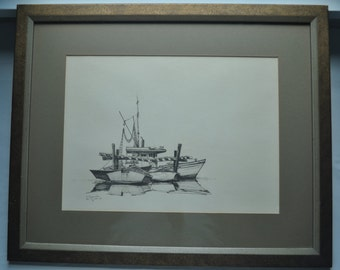 Black & White Lithograph by Anthony Shemroske of Boats Feb 27 1969