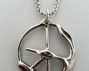 Single Bird in Peace Symbol