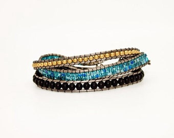 Black, Blue Crystal and Gold Beads on Pewter Tone Leather - Wrap Cuff