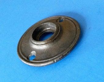 Antique Door Knob Rosette, Cast Iron Single-Ring Design, ca. 1900