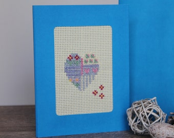 Floral Heart Cross-stitched Blue Greeting Card