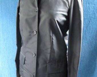 Helmut Lang Vintage Black Nylon Shirt Jacket w Collar and Hidden Button Placket
