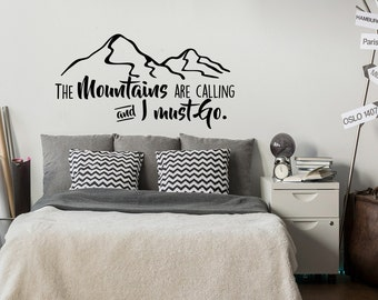 Black And White Wall Decals mountain wall decal | etsy