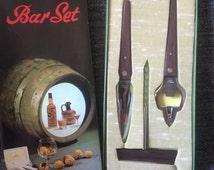 Retro Bar Ware Set, Rosewood, 1960s Bar ware, Kitsch, Original Box, Vintage Cocktail Party, Drinks Cabinet, Corkscrew, Bottle Opener