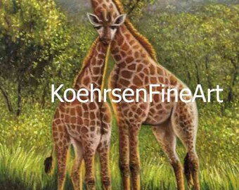 Custom Handmade Original Giraffe Pastel Painting, Wildlife mother and baby, African