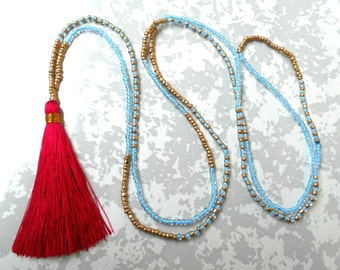 Hot Pink Tassel Necklace, Turquoise Necklace, Long Tassel Necklace, Seed Bead Tassel Necklace, Seed Bead Necklace, Fuchsia Tassel jewelry.