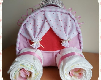 Nappy cake - pink carriage
