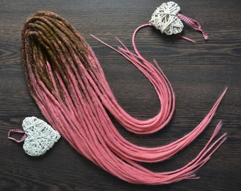 Chrocet synthetic double ended dreads and braids, long dreads, pink dreads, synthetic dread
