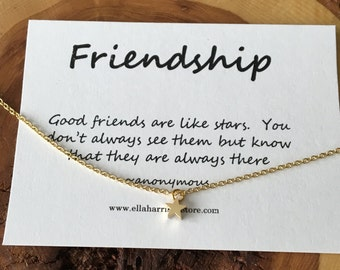 Tiny Gold Star Necklace; Bridesmaid Gift, Friendship, Inspire quote; bridal jewelry, best friend gift, charm necklace, gift for her,