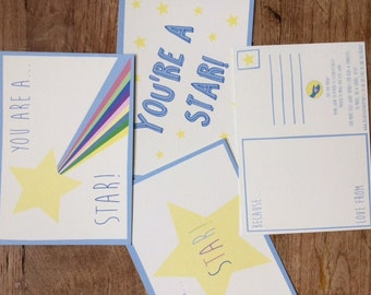Set of 6 kindness postcards - do good and feel good when you tell someone why they're a star