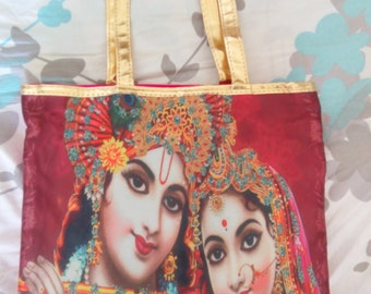 Krishna Radha Silk and Satin Pink Gold Tote