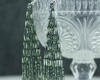 Grey Beaded Earrings // Mexican Earrings // Handmade Dangling Earrings // Ethnic Earrings // Chandelier Earrings