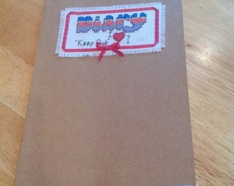 Diary with hand sewn cover can personalise