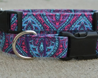 """The """"Zeppelin"""" Collar- bright pinks, purples and teals in a mixture of patterns"""