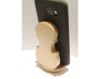 "Support ""Stradivarius"" in Maple for smartphone or Iphone shaped violin for musicians"