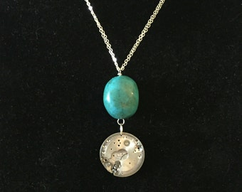 Turquoise Mechanical Watch Movement Necklace