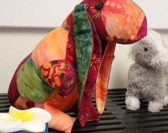 Patchwork Stuffed Rabbit, Quilted Rabbit