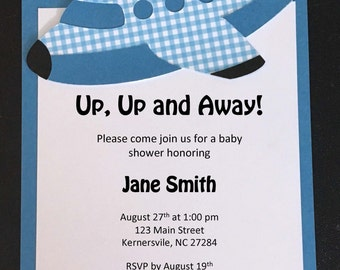 Airplane Baby Shower Invitations - 10 qty with Envelopes