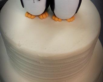 Bride and Groom Penguin Cake Topper fondant