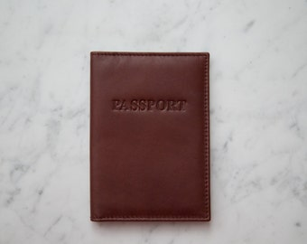 Genuine Leather Passport Cover Wallet Case