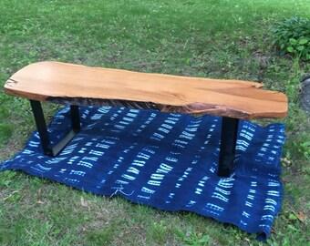 Raw Edge Cherry Wood Bench/Coffee Table
