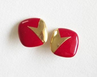 Vintage Clip On Earrings Red Square Earrings Red and Gold Toned Clip On Earrings Vintage Clip On Earrings UnSigned Vintage Jewelry