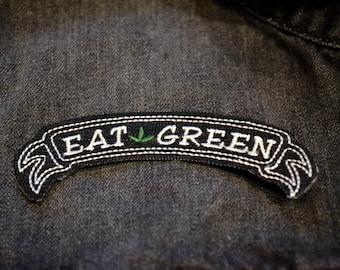 Eat Green Punk Rock Alternative Vegan Iron On Ribbon Patch