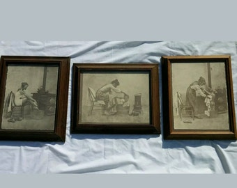 R Hendricks Antique Prints Set of 3