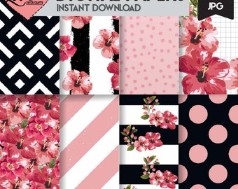 Black White and Pink Floral Digital Papers | Pretty Digital Scrapbooking Papers | Pretty Printable Scrapbooking Papers | Floral Girly Paper