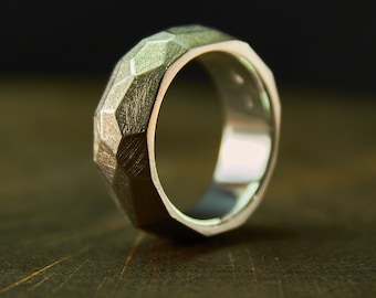 Sterling Silver Faceted Ring, geometric silver ring, silver facet ring, silver geometric, faceted jewelry, geometric silver, matte ring