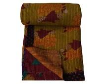 Reversible Floral Print Cotton Kantha Quilt Vintage Hand Stitched Kantha Blanket