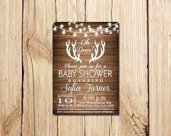oh deer baby shower invitation oh deer rustic baby shower invitation rustic antlers